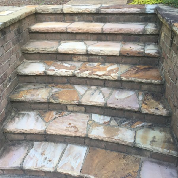 Stone steps before power washing